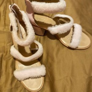 UGG Del Ray Fluff Sheepskin/Suede Heels Authentic